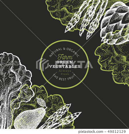 Green vegetables design template. Hand drawn 49812129
