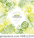 Pineapples and tropical leaves design template. 49812254