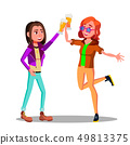 Girlfriends At Party Clinking Beer Glasses Vector Characters 49813375
