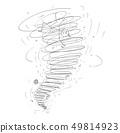 Cartoon of Man Carried Away by Tornado Storm 49814923