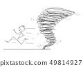 Cartoon of Man Running Away From Tornado Vortex 49814927