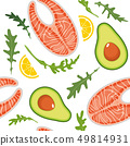 Seamless pattern on white background with salmon, avocado, arugula and lemon slice. Red fish and 49814931