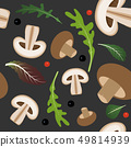 Seamless pattern on dark background with mushrooms and champignon slices. Mushrooms with lettuce and 49814939