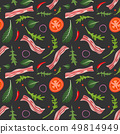 Seamless pattern on dark background with bacon, tomatoes, onion and lettuce. Breakfast food. Vector 49814949