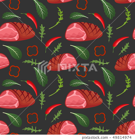 Seamless pattern on dark background with baked glazed ham, paprika, hot pepper, onion and arugula 49814974