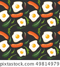 Seamless pattern on dark background with fried eggs, sausages, and lettuce. Omelet, scrambled eggs 49814979