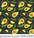 Seamless pattern on dark background with avocado, arugula and lemon slice. Vector illustration. 49814989