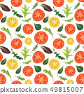 Seamless pattern on white background with red and yellow tomatoes. Tomato vegetable with lettuce and 49815007