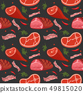 Seamless pattern on dark background with gammon, ham, bacon, steak on the bone, hot pepper and dill 49815020