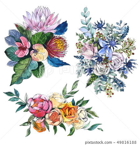 Wildflowers bouquet floral botanical flowers. Watercolor background set. Isolated compositions 49816188