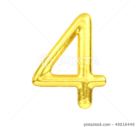 Numeral 4, Golden balloon number four isolated 49816449