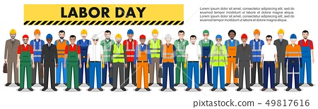 Labor day. Group of worker, builder and engineer standing together in row on white background in 49817616