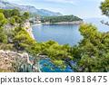 blue sea and green pine trees on the Adriatic coast in Croatia 49818475