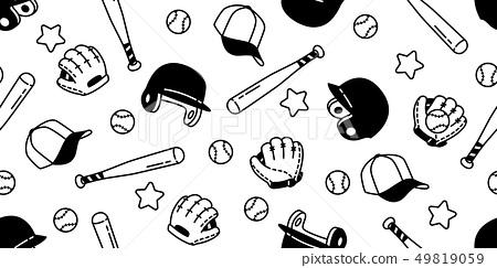 baseball Seamless pattern vector soft ball sport 49819059