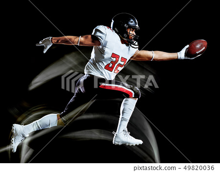 american football player man isolated black background light painting 49820036