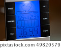 Home digital weather station outside shows temperature humidity, clock and weather forecast  49820579