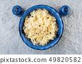 Sauerkraut in a blue bowl. Fresh healthy sauerkraut 49820582