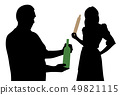 Husband with bottle of alcohol and angry wife 49821115