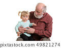 Old good grandpa and his little granddaughter 49821274