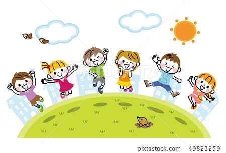 외부에서 점프하는 아이들 49823259