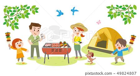 캠핑을 즐기는 가족 49824807