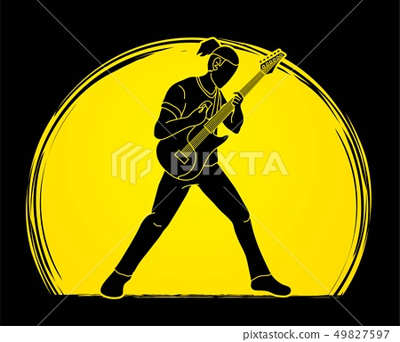 Musician playing electric guitar Music band vector 49827597