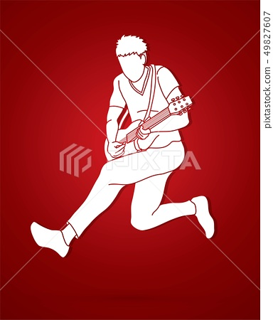 Musician playing electric guitar Music band vector 49827607