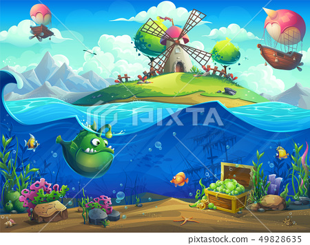 Undersea world with inhabitants and the island 49828635