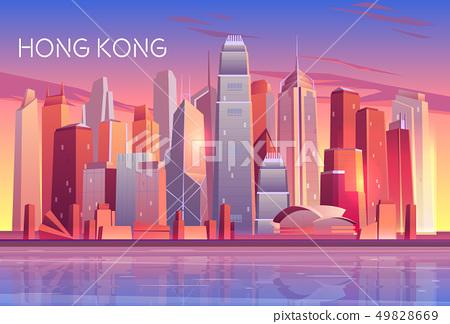Modern metropolis cartoon vector background 49828669