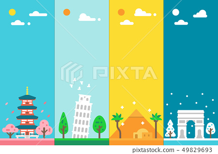Flat design 4 seasons landmarks 49829693