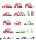 Flat design Barns Farm isolated 49829695