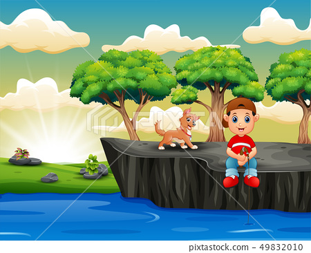 Cartoon boys fishing and sitting on the cliff 49832010