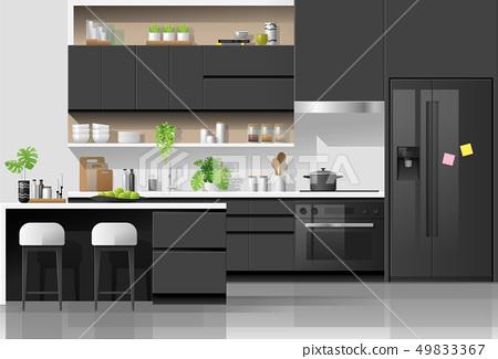 Modern black and white kitchen background 49833367