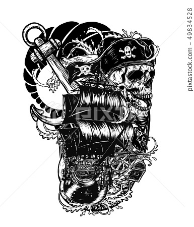 Pirate skull with rose by hand drawing 49834528