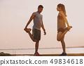 runner running on running road in city 49834618