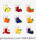 Set of Fresh Citrus Fruit and Berries Juices 49838443