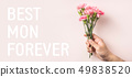 top view of carnation on pink for mothers day 49838520