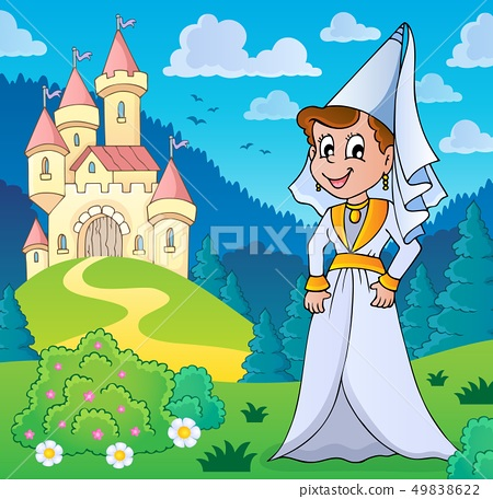 Medieval lady near stylized castle 49838622