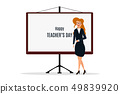 Happy Teacher's Day. A kind teacher stands at the chalkboard 49839920