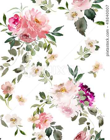 Seamless summer pattern with watercolor flowers 49840007