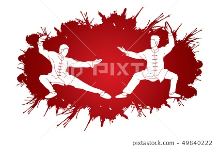 Men pose ready to fight Kung Fu action vector 49840222