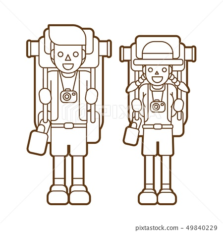 Couple carrying backpacks ready to travel graphic  49840229