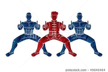 Kung Fu fighter, Martial arts action pose cartoon  49840464