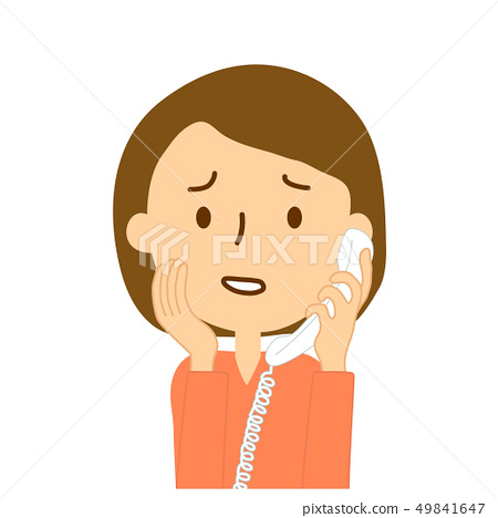유선 왼쪽에서 전화 곤란 얼굴 성인 여성 손을 맞 춥니 다 49841647