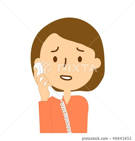 유선 왼쪽에서 전화 곤란 얼굴 성인 여성 49841652