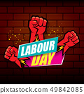 Happy labour day vector label with strong orange fist on red brick wall background. vector happy 49842085