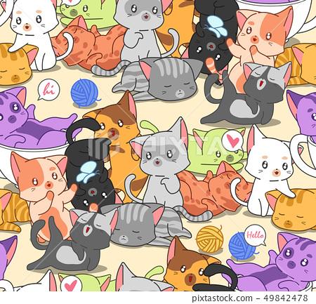 Seamless many little cute cats pattern. 49842478