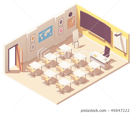 Vector isometric school classroom 49847222