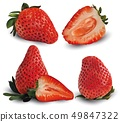Set, group, collection strawberry realistic 3d vector. Set raw strawberry fruit. Slice strawberry 49847322