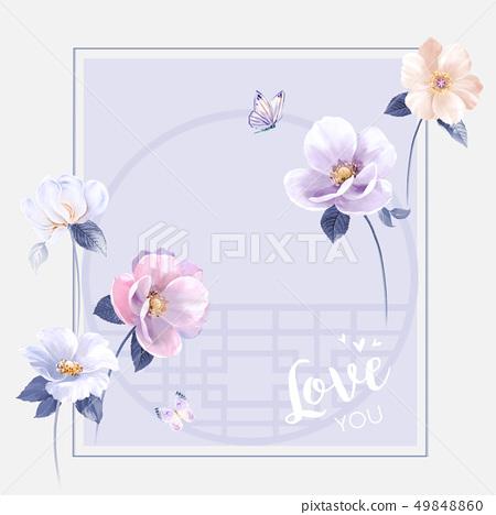 中國風水墨花卉和邀請卡設計 49848860